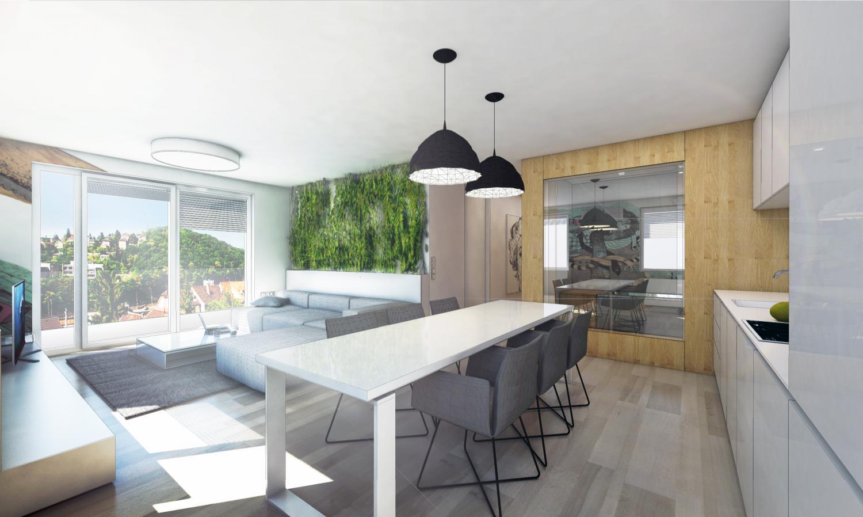 Drei zimmer wohnung mit einer betonwand bratislava slowakei rules architekten - Rankenpflanze zimmer ...