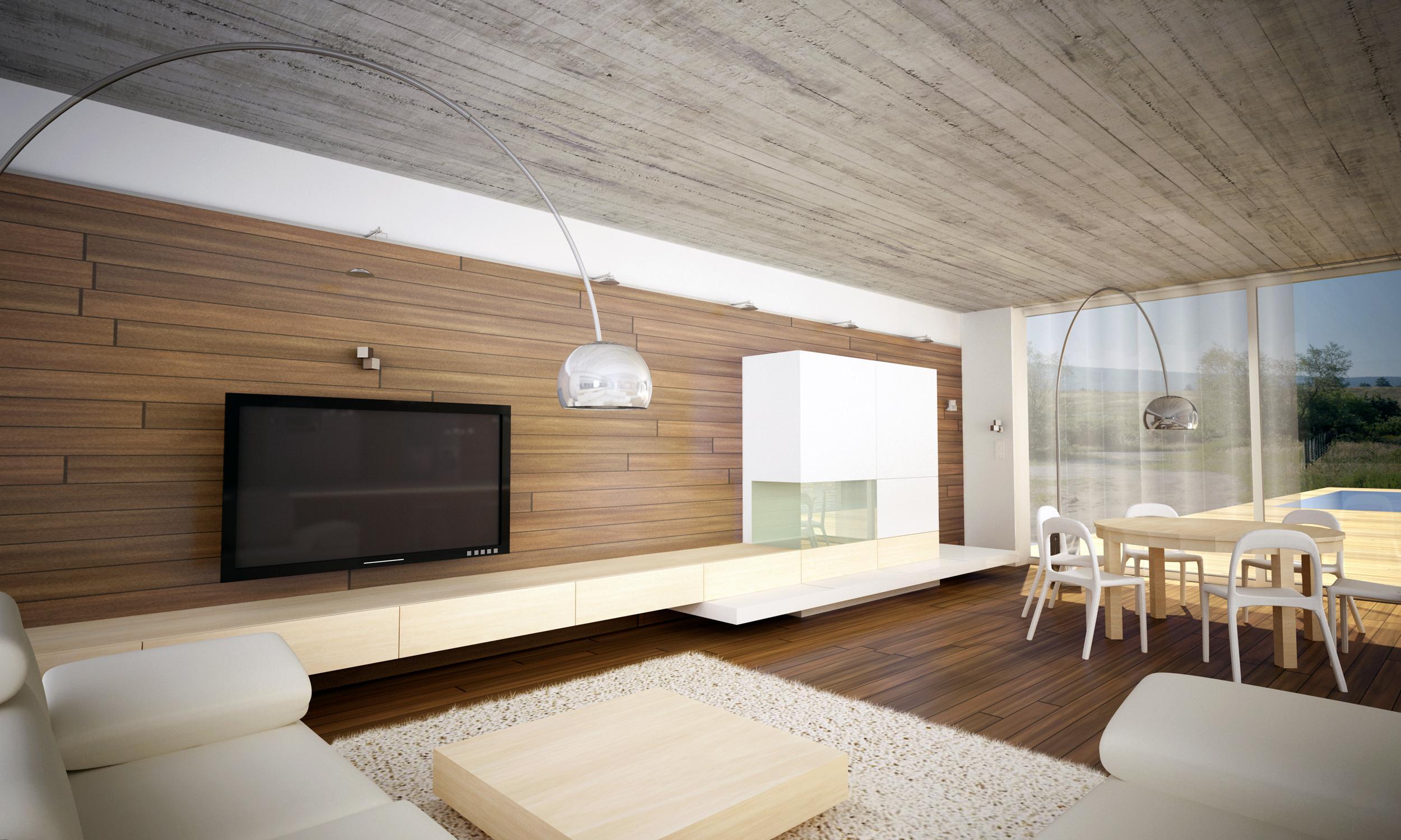 Modernes Interieur im Bungalow mit Sichtbetondecke, Bratislava ...